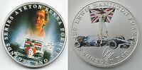 Ayrton Senna Lewis Hamilton Silver Coin Signed Formula One Drivers Sport McLaren