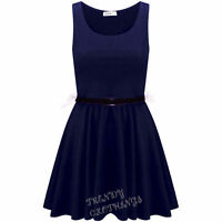 A262 Womens Belted Sleeveless Flared Franki Short Party Ladies Skater Dress Top