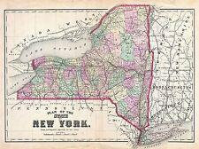 1873 cervezas Mapa Estado de Nueva York Vintage Repro de cartel impresión de arte 2959pylv