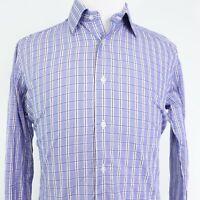 DAVID DONAHUE TRIM FIT BLUE PLAID LONG SLEEVE BUTTON UP DRESS SHIRT 16.5 34/35