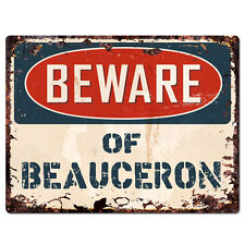 Ppdg0076 Beware of Beauceron Plate Rustic Tin Chic Sign Decor Gift