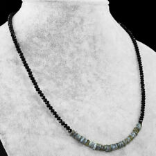50.00 Cts Natural Labradorite & Black Spinel Faceted Beads Necklace NK 14E60