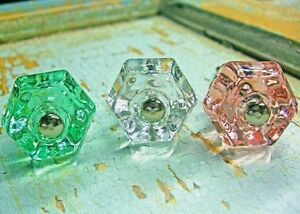 GLASS KNOBS FURNITURE HARDWARE ANTIQUE VINTAGE HARDWARE SHABBY CHIC STYLE