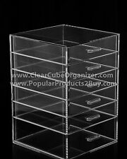 ACRYLIC LUCITE CLEAR CUBE MAKEUP ORGANIZER 6 Pull out Drawers