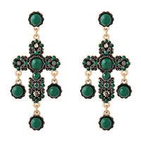 Orecchini Clip On Dorato Lampadario Croce Tassel Perle Verde Barocco XX26