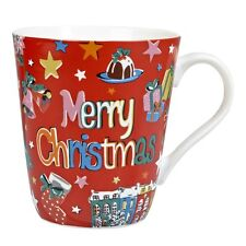 New Cath Kidston Merry Christmas Red Stars Mug - 500ml Fine China - Gift Boxed