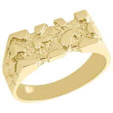 c94eba0e973a Auténtico 10 Quilates Oro Amarillo Hombre Nugget Estilo Meñique Anillo