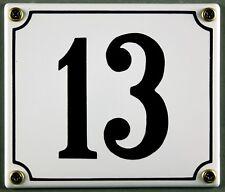 """Weiße Emaille Hausnummer """"13"""" 14x12 cm Hausnummernschild sofort lieferbar Schild"""