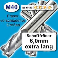 6mm Fräser L=75 Z=4 M40 Schaftfräser Metall Kunststoff Holz vergl. HSSE HSS-E