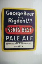 MINT GEORGE BEER AND RIGDENS FAVERSHAM BEER BOTTLE LABEL BOTTLED IN HAILSHAM