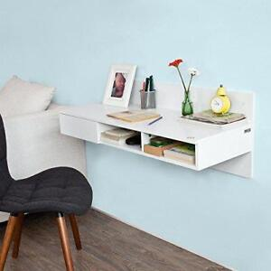 Wall Mounted Computer Desk Floating Table White Modern with drawer