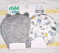 Child of Mine Carters~2-Pairs Anti-Scratch Mittens~Dinosaurs🦕~Newborn Baby Boys
