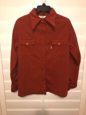 VTG Levi's Cursive L Orange Tab Buttoned Long Sleeve Western Shirt Orange M RARE
