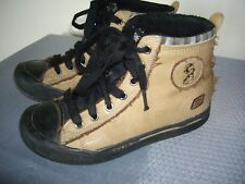 SKECHERS BOYS BEIGE LEATHER ANKLE BOOTS SIZE 13.5 GOOD CONDITION
