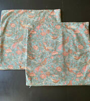 Pottery Barn PAIR Pillow Covers Palampore Blue Pink Floral Birds Lined 18 X 18