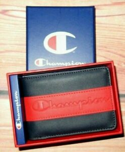 MENS CHAMPION BLUE RED BIFOLD WALLET WITH ORIGINAL GIFT BOX