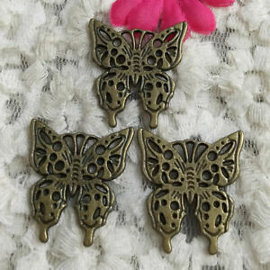 Free Ship 30 Pcs Bronze Plated Butterfly Charms 25X24MM H-2232