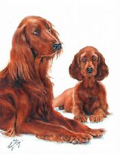 Original Oil Art Portrait Painting IRISH SETTER PUPPY Artist Signed Artwork DOG