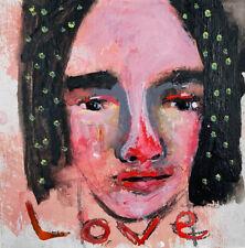 Original Outsider Art Portrait Painting LOVE Kinda No Brainer Katie Jeanne Wood