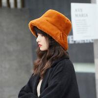 Winter Women Solid Color Flat Top Wide Brim Plush Fisherman Hat Bucket Cap Warm