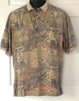 Tori Richard Shirt Medium Hawaiian Hawaii Tiki Aztec Cotton Lawn Mens USA