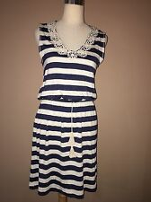NWT Max Studio Stretchy Ivory Navy Striped Tired Linen Rayon Spandex Dress Sz.xs