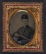 Photo Civil War Union Soldier In Uniform With 1842 Aston Johnson Pistol