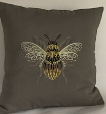 "Swirl Bee Embroidered Cushion Cover  14""x14"""