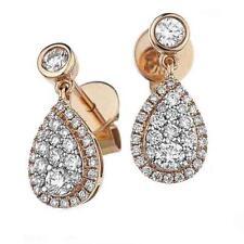 Diamond Pear Drop Earrings 0.70ct F VS in 18ct Rose Gold for Pierced Ears