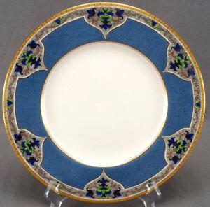 Pair of Royal Worcester Art Nouveau Scrollwork & Blue Marbleized 10 1/2 Plates