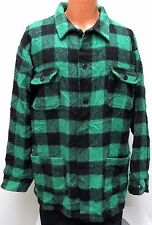 vtg Kanata KELLY GREEN BUFFALO WOOL Shirt-Jacket LARGE plaid 90s canada jac L
