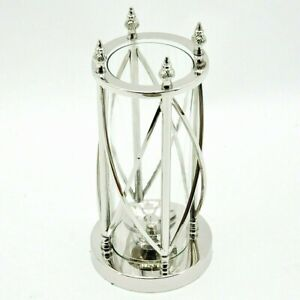 Large Nickel Silver Hurricane Lantern Lamp Candle Reproduction Retro Holder