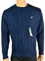 Nautica Mens Sweater New L Navy Blue Crew Neck Long Sleeve Pullover Design