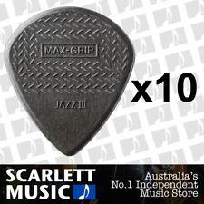 10 x Jim Dunlop Max Grip Jazz 3 Carbon Fiber Gauge Guitar Picks *NEW* Jazz III