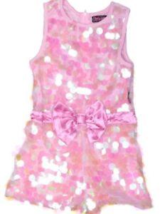 Jojo Siwa Sequin Romper Jumpsuit Shorts Pink Blush Bow Jojo's Closet  NEW