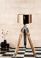 DESIGNER WOODEN NAUTICAL DESK/FLOOR LAMP TRIPOD LAMP LIGHTING HOME DECOR.