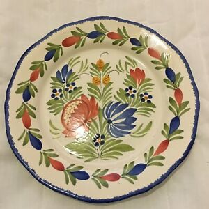 Henriot Quimper France Plate Blue Green Red Yellow Flowers F6 D FR PM