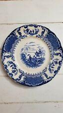 Flow Blue Plate Antique Asian Geisha Upper Hanley England Court Shape