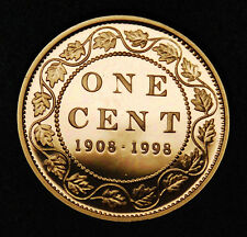 90th anniversary of mint 1908-1998 1 cent silver with copper coating - rare #2