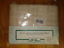 NEW L.L. Bean Triple Napped Flannel Twin Sz Flat Sheet Neutral Tan Beige Plaid