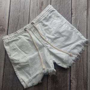 Aerie Womens Size M Distressed Frayed Hem Drawstring Casual White Denim Shorts