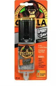 GORILLA GLUE 5 Min 2 Part EPOXY Syringe 25ml Resealable Clear Gap Filler NEW UK