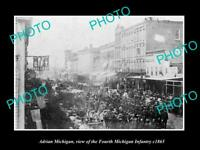 OLD POSTCARD SIZE PHOTO OF ADRIAN MICHIGAN CIVIL WAR 4th MICHIGAN INFANTRY 1865
