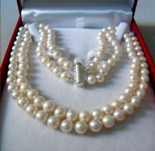 """2 Rows 8-9 MM AKOYA SALTWATER PEARL NECKLACE 17-18""""k36"""
