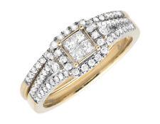 14K Yellow Gold Princess Set Quad Square Halo Diamond Engagement Bridal Set .5Ct