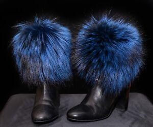 Genuine Real Fur Handmade Boot Cuffs Toppers Leg Warmers + detachable POM POM
