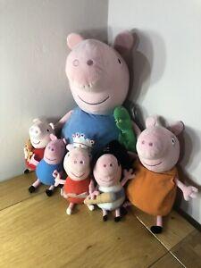 Giant Peppy Pig + 5 x Peppa Pig Plush Teddy Bundle Ty Beanies 2001-2003