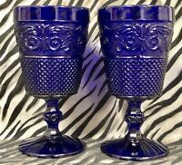 2 Johnson Brothers EVERYDAY GLASS Cobalt Blue Water Goblet Glasses