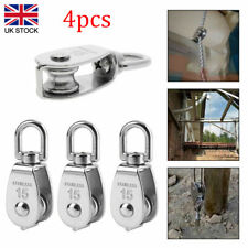 More details for 4x stainless steel single pulley block heavy duty wheel swivel 15mm lifting rope