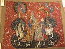 """Lady and Unicorn Needlepoint Canvas Tapestry Rug Vintage Canvas Only 31.5"""" x 40"""""""